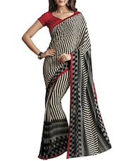 White And Black Printed Georgette Saree - By