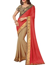 Coral And Beige Half And Half Georgette Saree - By
