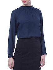 Navy Blue Full-Sleeved Top - By