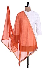 Orange Shimmer Dupatta With Multicolored Border - By