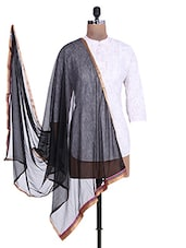 Black Shimmer Dupatta With Multicolored Border - By