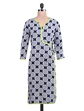 Navy Blue And White Printed Overlap Kurti - By
