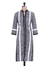 Black And White Rayon Kurta - By