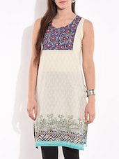 Cream Sleeveless Printed Cotton Kurta - By