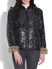 Black Quilted Jacket With Hood - By