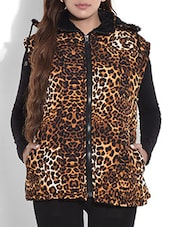 Brown Animal Printed Quilted Jacket With Hood - By