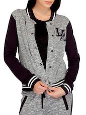 Grey N Dark Purple Jacket With Applique Details - By