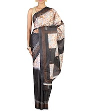 Black Synthetic Art Silk Printed Saree - By