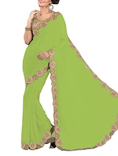 Embroidered Lace Border Plain Georgette Saree - By
