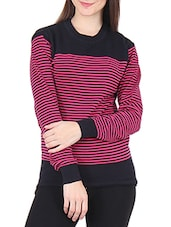 Black Striped Round Neck Cotton Sweater - By