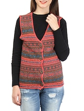 Multicolored Sleeveless Self Design Cardigan - By