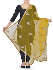 Yellow Stone Embellished Net Dupatta - By