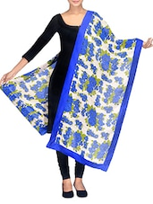 White And Blue Floral Printed Cotton Patchwork Dupatta - By