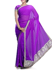 Purple Chiffon Saree With Border - By