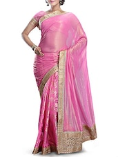 Pink Chiffon Saree With Border - By