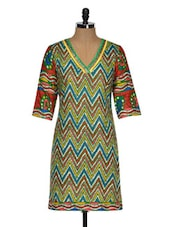 Chevron Print Kurta With A Hint Of Green - By