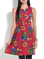Red Floral Printed Sleeveless Cotton Kurti - By