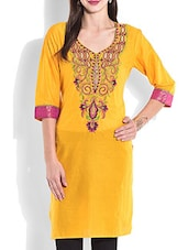 Yellow Embroidered Quarter Sleeved Cotton Kurta - By