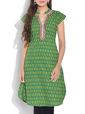 Green Printed Short Sleeved Cotton Kurti - By