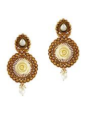 Gold Cutwork Rose Embellished Pearl Drop Earrings - By