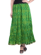 Dark Green Bandhej Printed Cotton Maxi Skirt - By