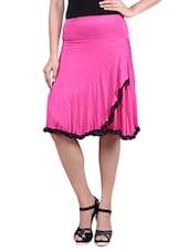 Pink Knee Length Viscose Lycra Flared Skirt - By