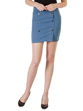 Light Blue Buttoned Denim Skirt - By