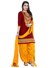 Maroon And Yellow Embroidered Unstitched Suit Set - By