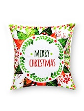 White Merry Christmas Cotton Cushion - By