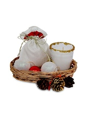 Set Of 1 Homemade Chocolates, 1 Potli, 1 Candle,1 Basket And 1 Pack Of Decorative Accessories - By