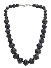 Black Beaded Tropical Necklace - By
