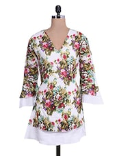 White Floral Print Cotton Tunic - By