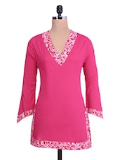 Pink V-neck Cotton Full-sleeved Kurti - By