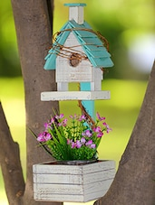 Off White Wooden Bird House With Bucket - By