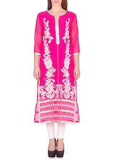 Pink And White Georgette Embroidered Kurta - By
