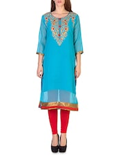 Blue Georgette Embroidered Kurta - By