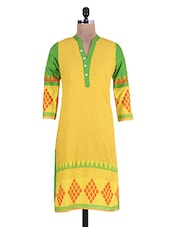 Yellow And Green Printed Cotton Kurta - By