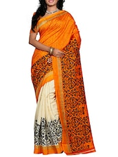 Orange And Cream Bhagalpuri Silk Saree - By