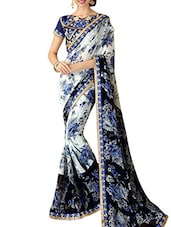 White And Blue Floral Printed Georgette Saree - By