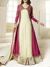 Pink And Cream Georgette Embroidered Semi Stitched Suit Set - By