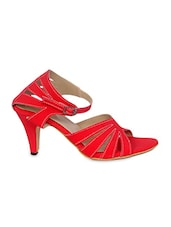 Red Cross-Strap Heel Sandals - By
