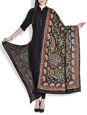 Black Silk Dupatta With Kantha Work - By