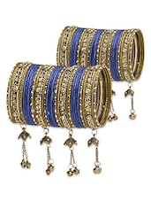 Blue And Gold Embellished Bangles Set - By