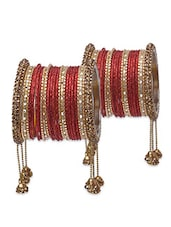 Red And Gold Embellished Bangles Set - By