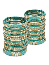 Green Stone Embellished Bangles Set - By