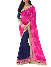 Blue And Pink Printed Chiffon Saree - By