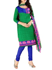 Green And Blue Printed Unstitched Suit Set - By