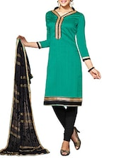 Green And Black Unstitched Suit Set - By