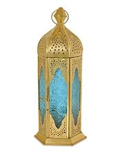 Gold Metal Lantern With Sky Blue Glass - By