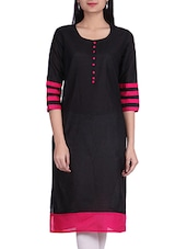 Black Round Neck Cotton Kurta - By
